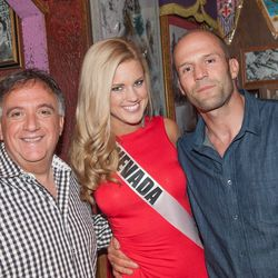 Miss Nevada 2013 Chelsea Caswell and Jason Statham. Photo: Tom Donaghue