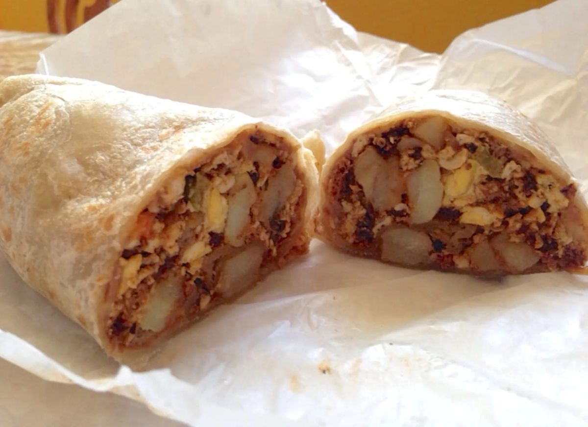 Breakfast burrito at La Azteca Tortilleria in East Los Angeles.