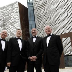 Jonathan Hegan,left, Chairman Titanic foundation, Northern Ireland First Minister Peter Robinson, 2nd left,   Tim Husbands,  Chief Executive Titanic Belfast and Northern Ireland Deputy First Minister Martin McGuinness , right,  arriving for the Pre-opening Gala dinner at Titanic House, Belfast, Northern Ireland, Friday, March, 30, 2012.