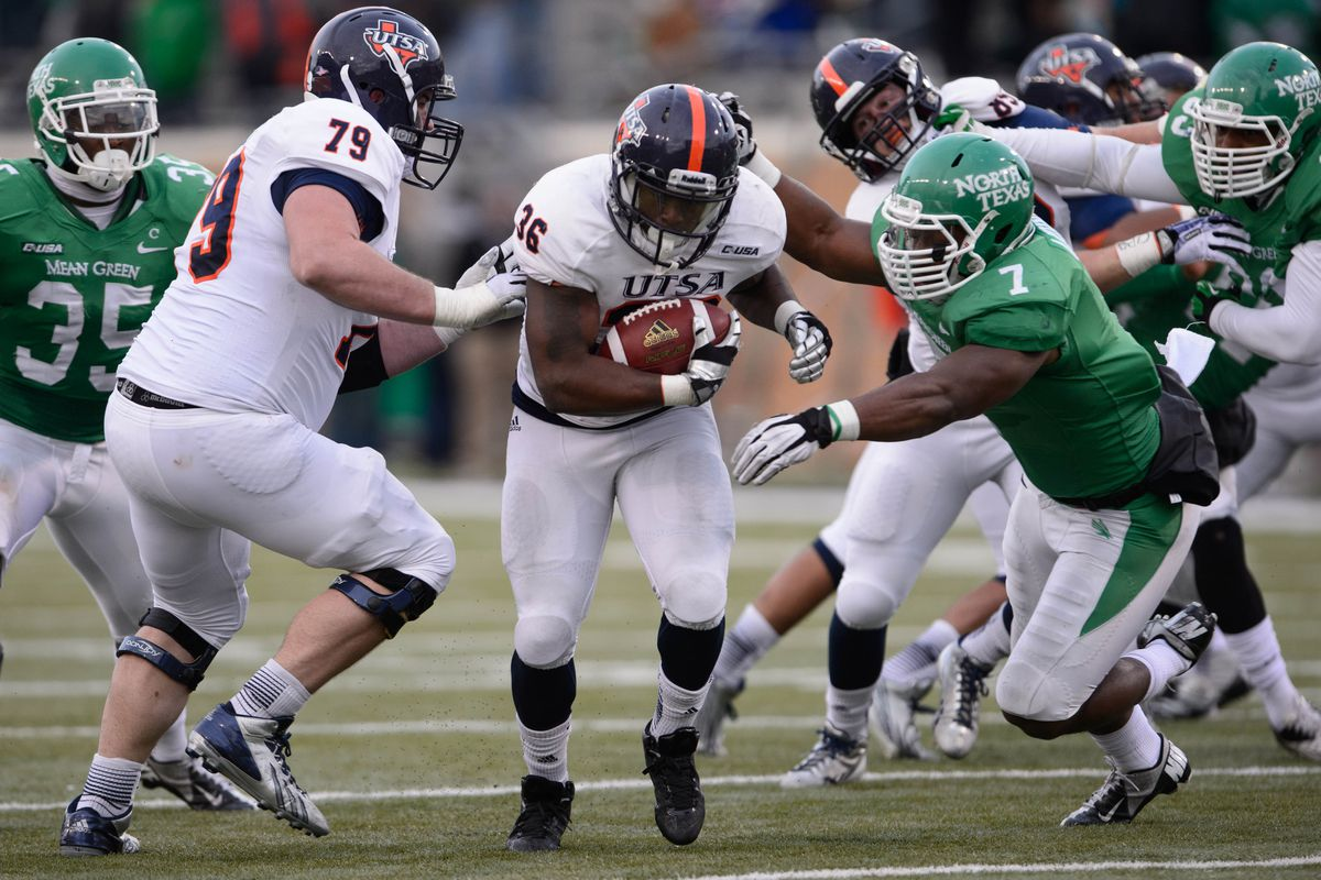 Bruising running back Evans Okotcha is one of the few seniors UTSA will have to replace in 2014