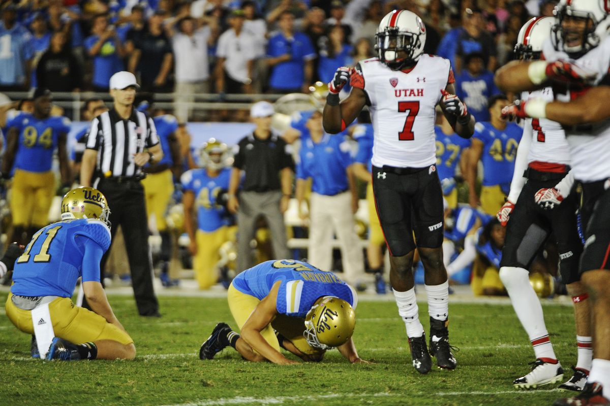 UCLA kicker Ka'imi Fairbairn collapses to the ground seeing his 50-yard potential game winning field goal pushed right, and Utah rushes the field after the Top 10 upset.