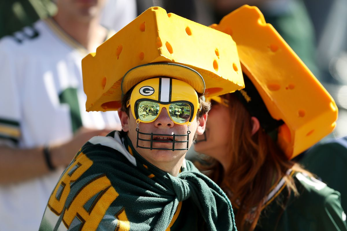 Green Bay Packers fans look on before the game between the Los Angeles Chargers and the Green Bay Packers at Dignity Health Sports Park on November 03, 2019 in Carson, California.