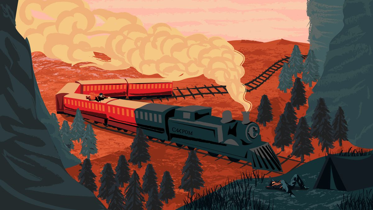 illustration of a steam train heading into shadow