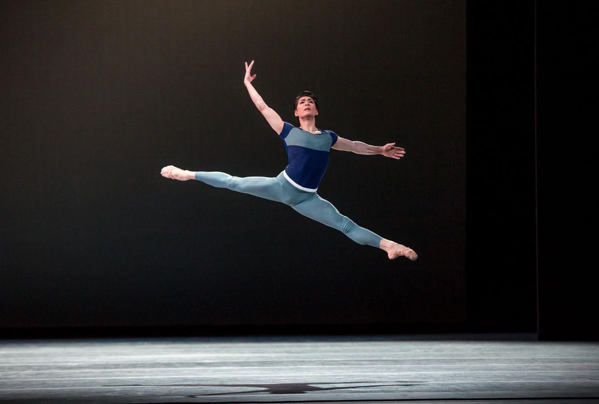 "The Joffrey Ballet's Yoshihisa Arai flies high in Justin Peck's ""Year of the Rabbit."" (Photo: Cheryl Mann)"