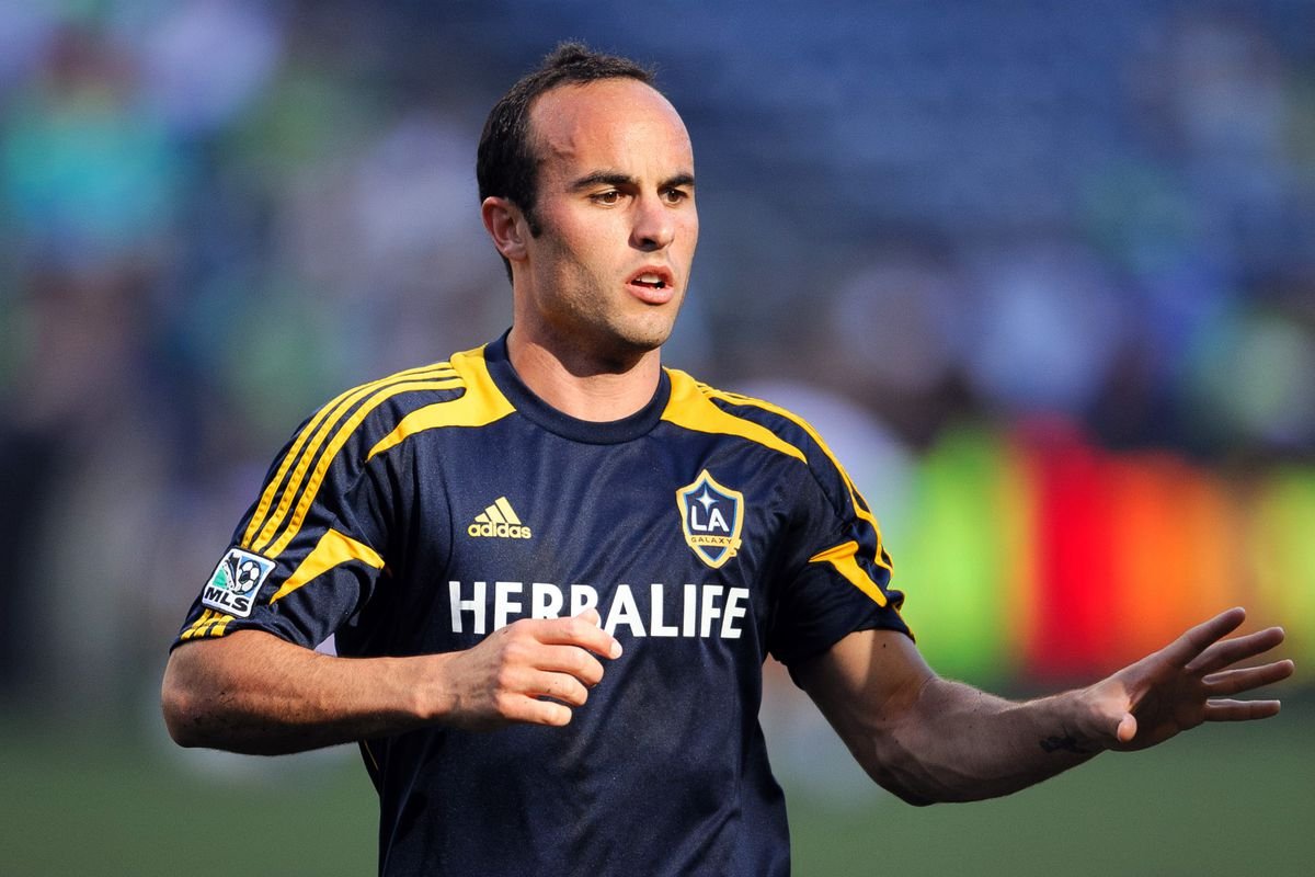 Aug 5, 2012; Seattle, WA, USA; LA Galaxy midfielder Landon Donovan (10) warms up prior to the game against the Seattle Sounders FC at CenturyLink Field. Mandatory Credit: Steven Bisig-US PRESSWIRE