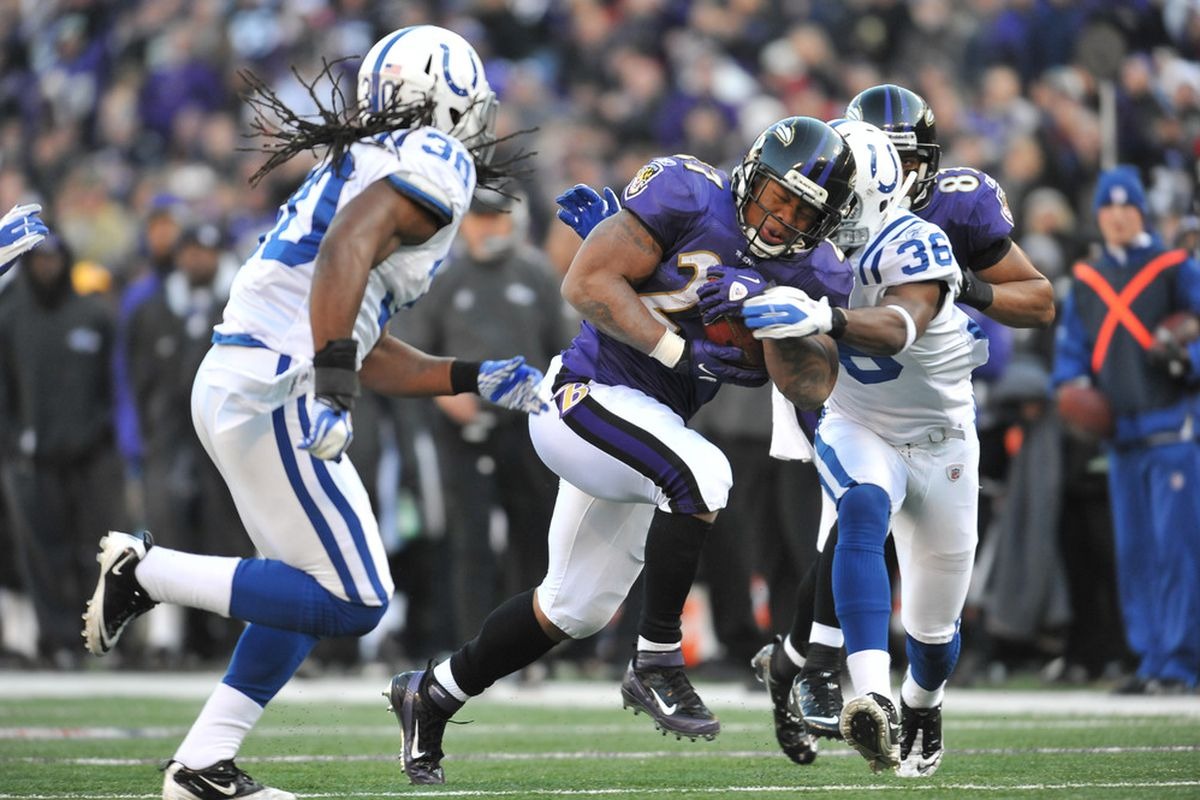 BALTIMORE - DECEMBER 11:  Ray Rice #27 of the Baltimore Ravens runs the ball against the Indianapolis Colts at M&T Bank Stadium on December 11, 2011 in Baltimore, Maryland. The Ravens defeated the Colts 24-10. (Photo by Larry French/Getty Images)