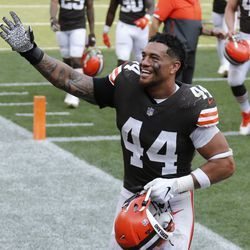 Cleveland Browns linebacker Sione Takitaki celebrates after the Browns defeated the Washington Football Team 34-20 in an NFL football game, Sunday, Sept. 27, 2020, in Cleveland.