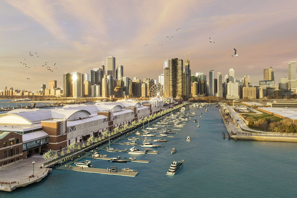 A rendering of the Navy Pier Marina, which is proposed for north side of Navy Pier. Provided