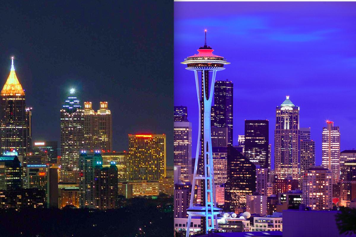 The Atlanta skyline juxtaposed with Seattle's.