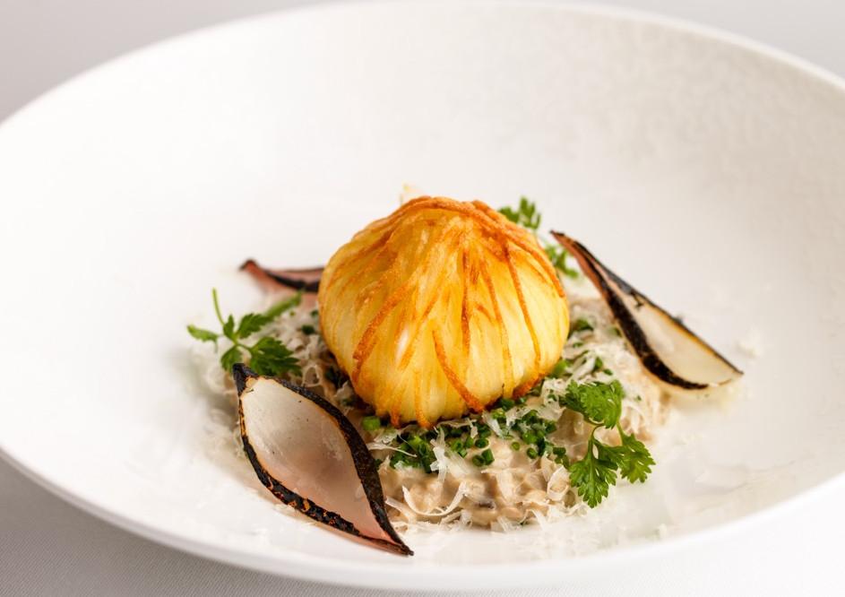 mushroom risotto and crispy egg by Daniel Clifford and Claude Bosi at Tom Kerridge's London restaurant Kerridge's Bar and Grill