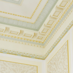 A portion of the ceiling and walls show the ornate décor found in the Mesa Arizona Temple. Neoclassical cues of egg and dart, flutes, rosettes and urns accented with gold leaf are ever-present in the popular 1920s design.