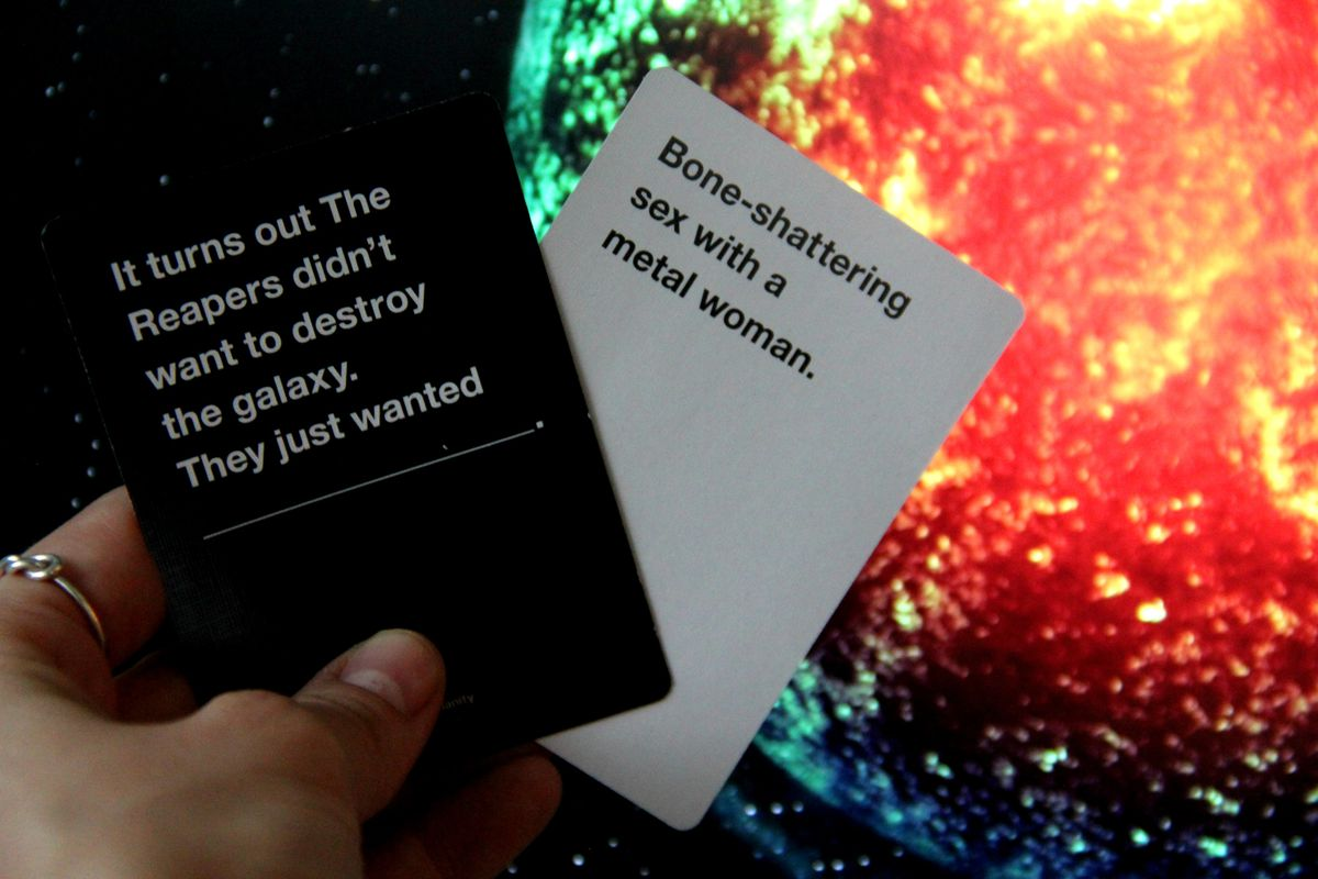 """Cards Against Humanity Mass Effect Pack """"bone-shattering sex"""""""