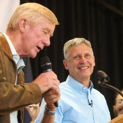 Libertarian presidential candidate Gov. Gary Johnson, right, and running mate Gov. Bill Weld speak in Salt Lake City at the University of Utah on Saturday, Aug. 6, 2016.