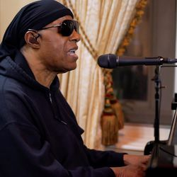 """Stevie Wonder performs during """"One World: Together At Home"""" presented by Global Citizen on April, 18, 2020."""