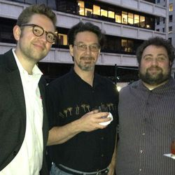 Former Oxheart sommelier Justin Vann, photographer to the stars Chuck Cook, Eater Houston editor Eric Sandler