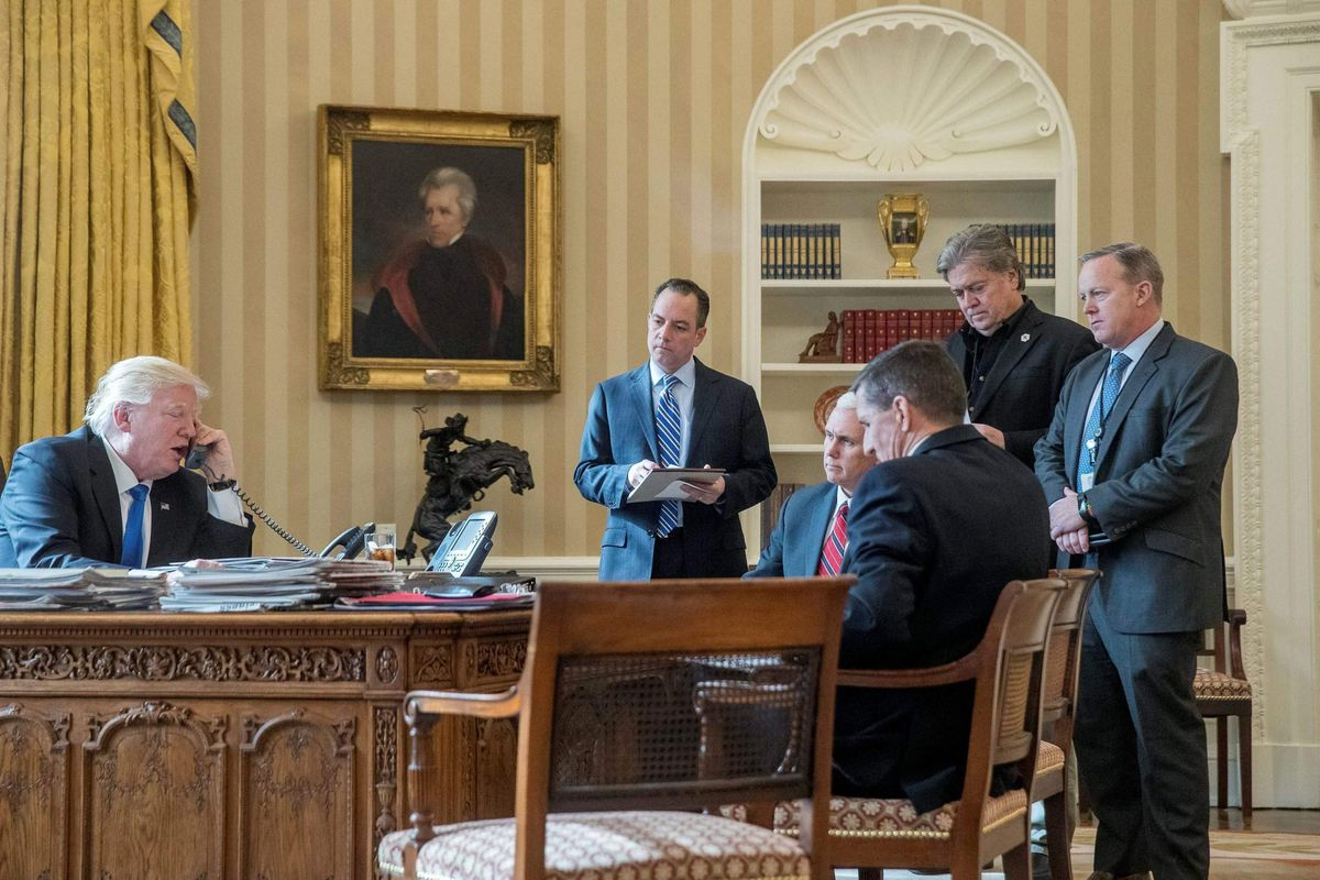 A scene in the Oval Office from The Brink.
