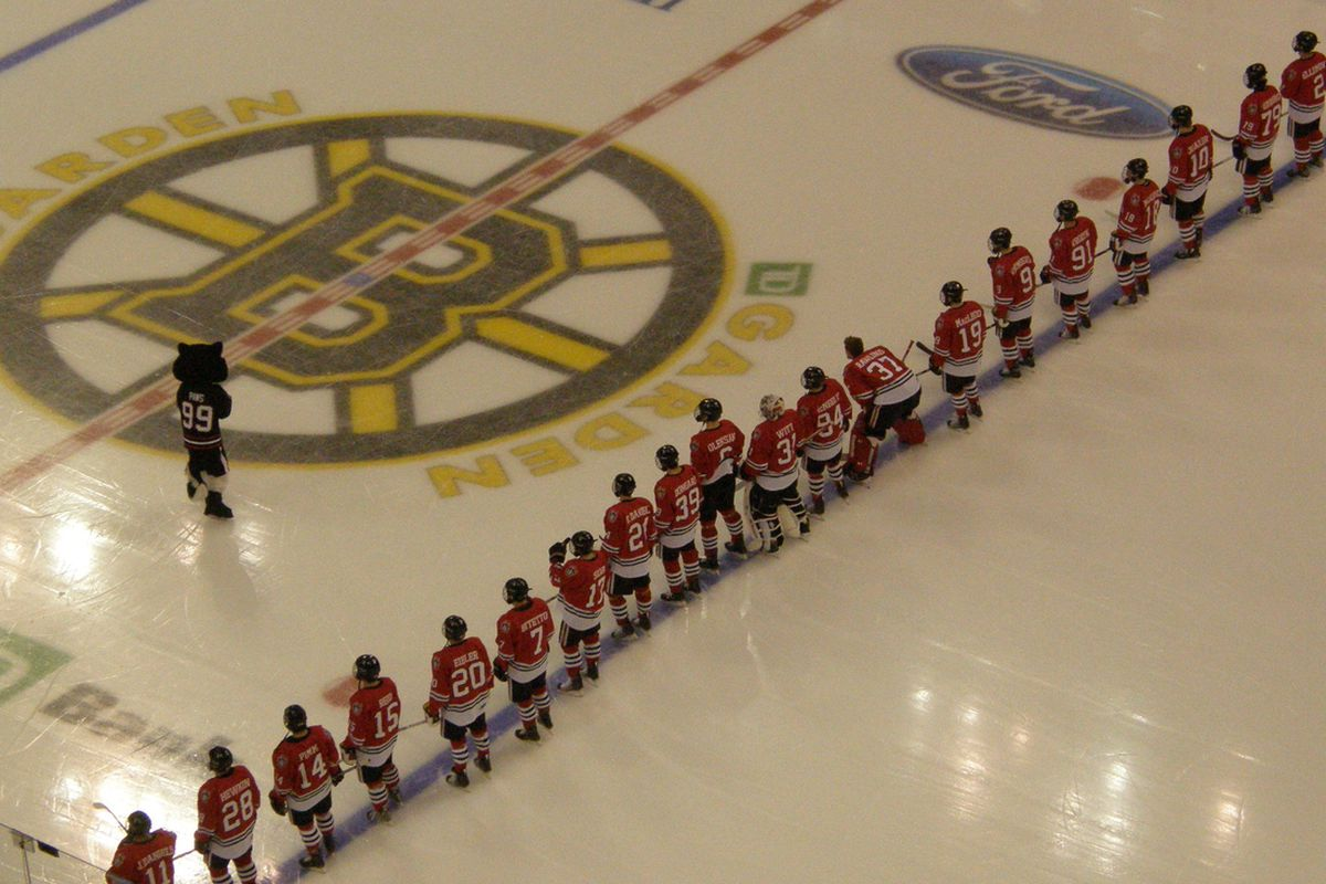 Northeastern players line up for the starting lineups and national anthem for the Beanpot at the TD Garden in Boston.