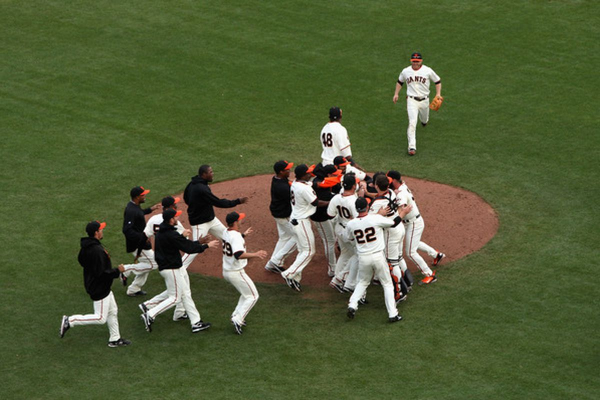 SAN FRANCISCO - OCTOBER 03:  The San Francisco Giants celebrate after they beat the San Diego Padres to win the National League West Title at AT&T Park on October 3 2010 in San Francisco California.  (Photo by Ezra Shaw/Getty Images)
