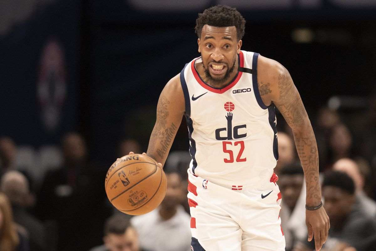 Washington Wizards guard Jordan McRae dribbles up the court during the second half against the Detroit Pistons at Capital One Arena.