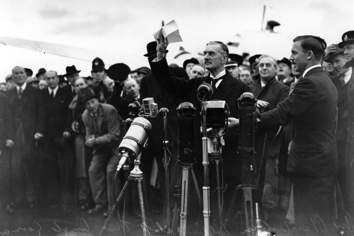 """Neville Chamberlain, making his infamous """"peace in our time"""" address in September 1938."""