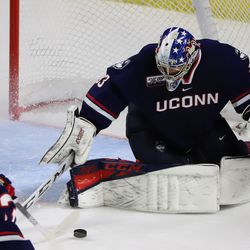 The UConn Huskies take on the Sacred Heart Pioneers in a men's college hockey game at Webster Bank Arena in Bridgeport, CT on October 5, 2019.