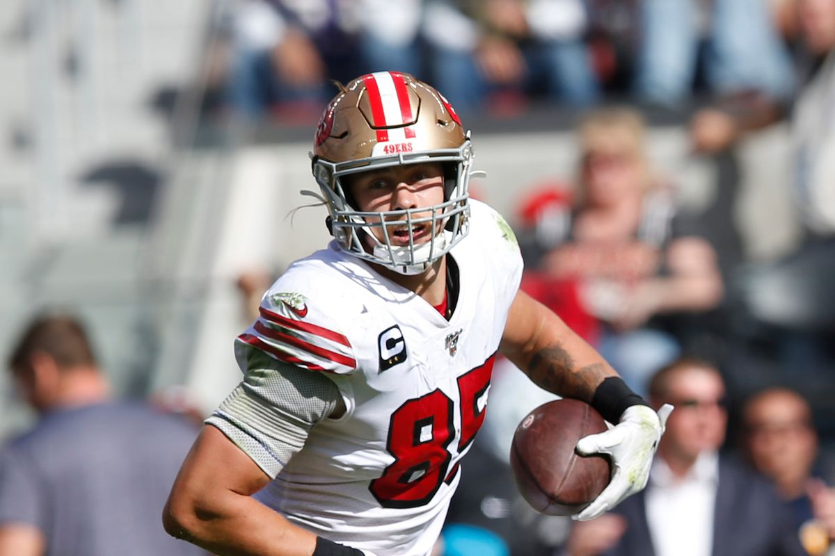 George Kittle of the San Francisco 49ers runs after making a reception during the game against the Carolina Panthers at Levi's Stadium on October 27, 2019 in Santa Clara, California.