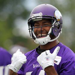 Jul 26, 2013; Mankato, MN, USA; Minnesota Vikings wide receiver Joe Webb (14) laughs during training camp at Minnesota State University. Mandatory Credit: Brace Hemmelgarn-USA TODAY Sports