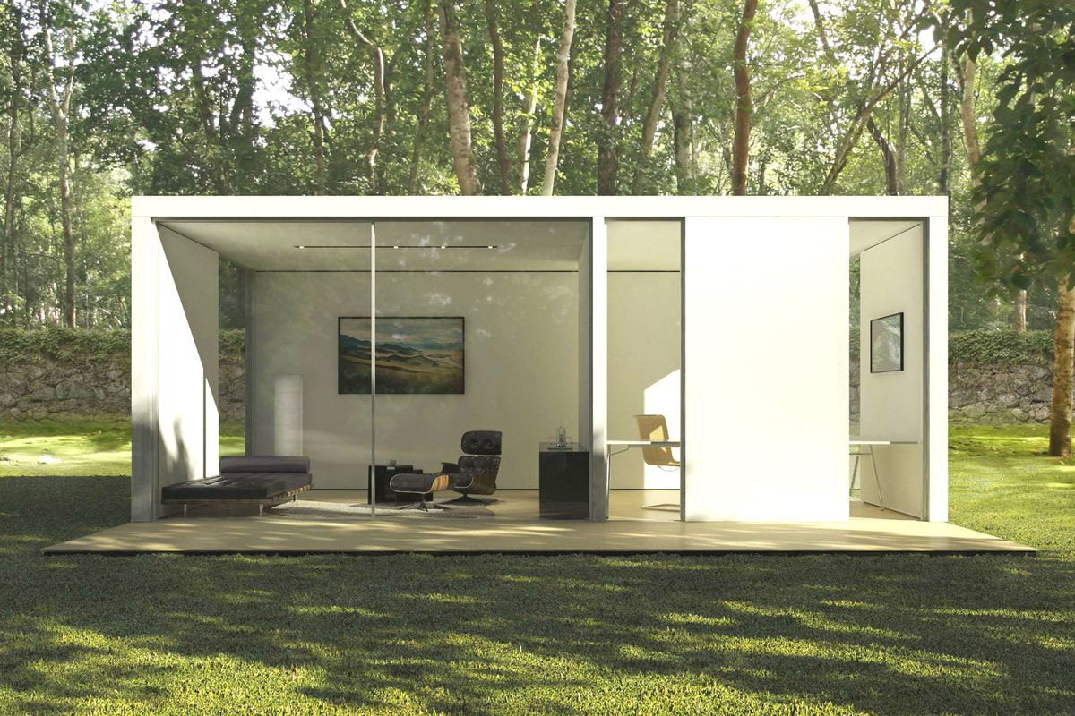 Prefab homes from cover are designed by computer for Prefab garage california