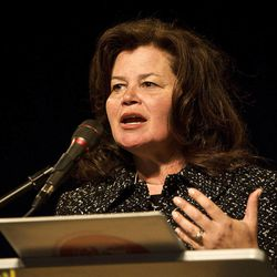 Enid Greene Mickelsen, Republican National committeewoman, speaks at the Utah State GOP convention Layton June 13, 2009. On Monday, Mickelsen suggested the creation of an independent board to investigate allegations of impropriety against John Swallow.