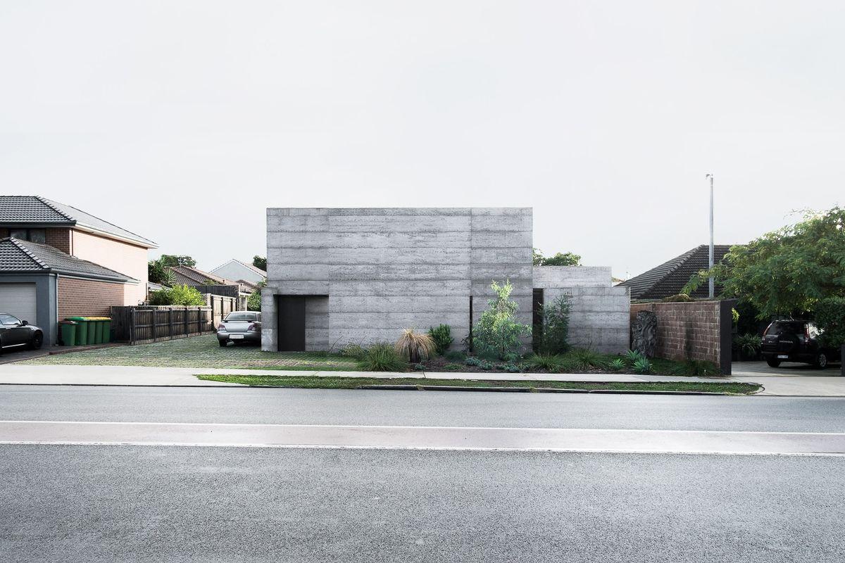 Concrete house on street