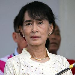 Myanmar pro-democracy leader Aung San Suu Kyi attends a press conference after meeting with representatives of the Karen National Union (KNU) at her lakeside residence Sunday, April 8, 2012, in Yangon, Myanmar.