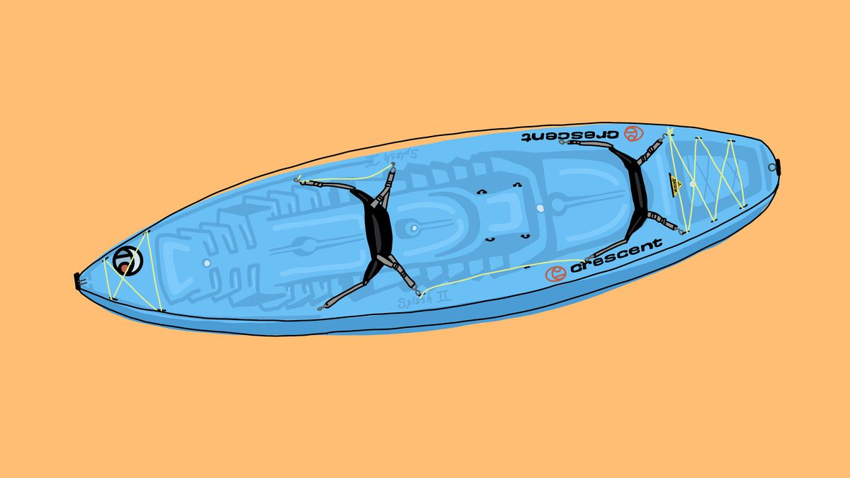 A drawing of a blue kayak on an orange background.