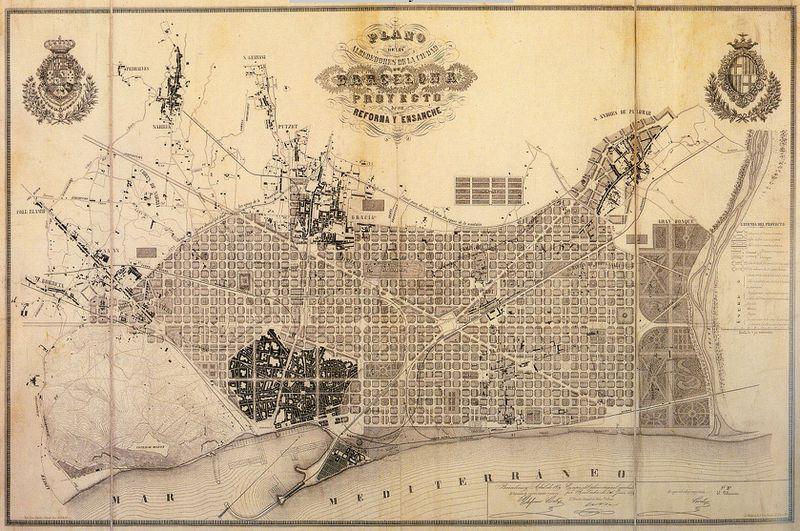 Cerdà's original plan, as of 1859.