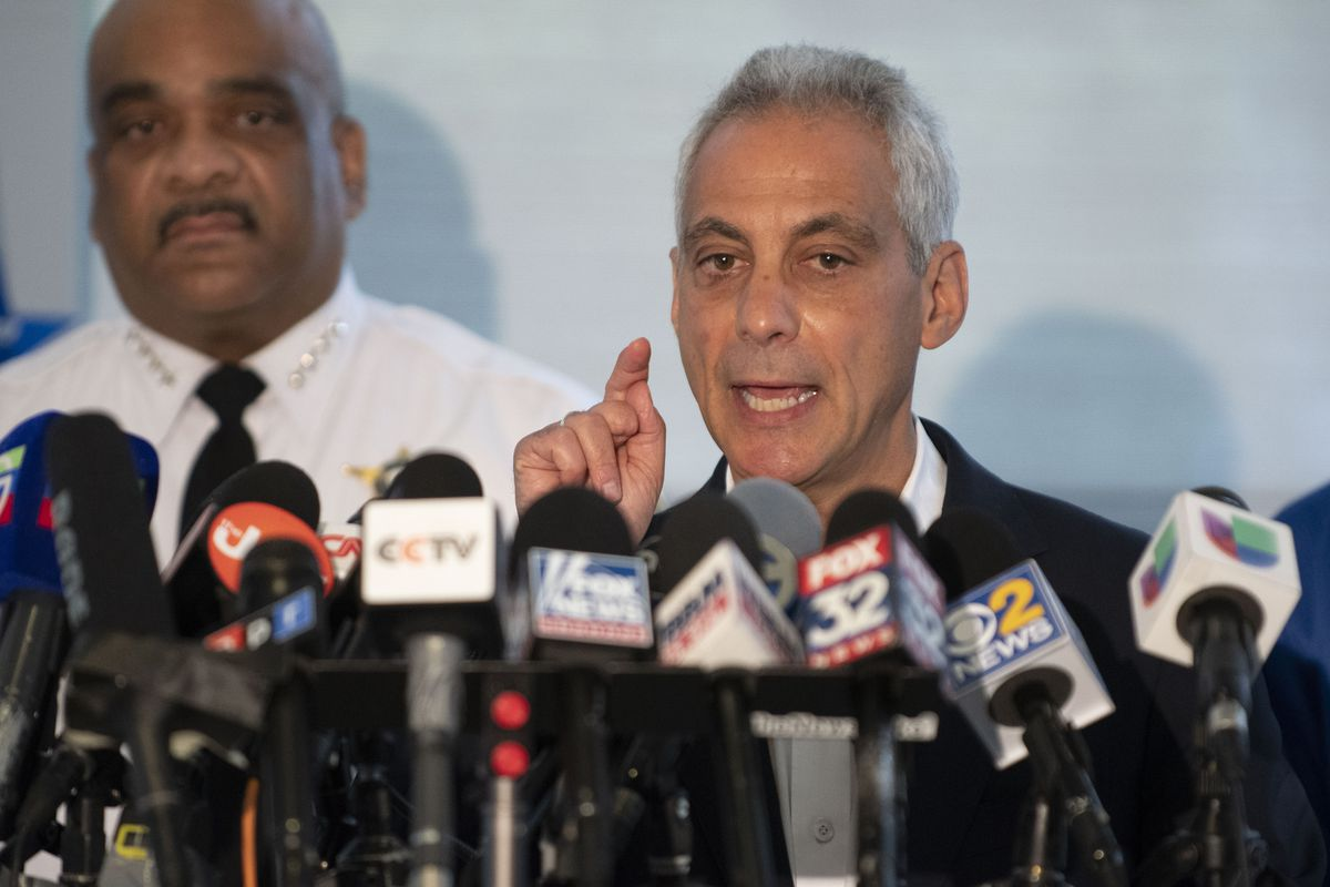 Mayor Rahm Emanuel speaks at a press conference at 78th and Halsted following a violent weekend in Chicago. | Colin Boyle/Sun-Times