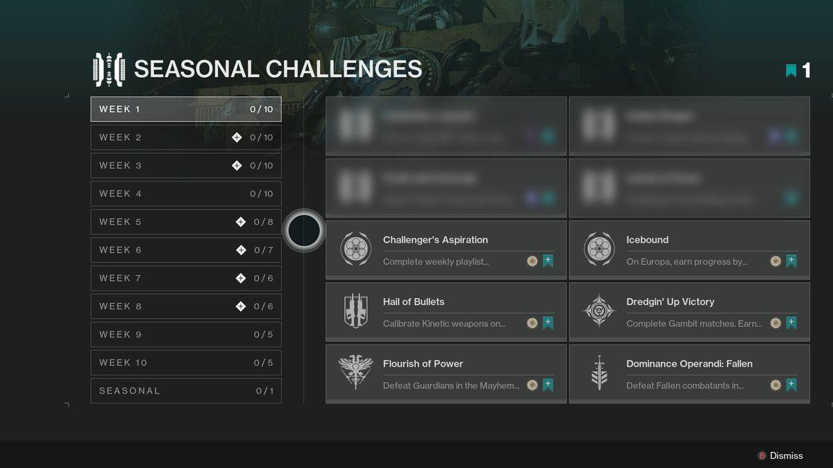 Destiny 2 season 13 Seasonal Challenges