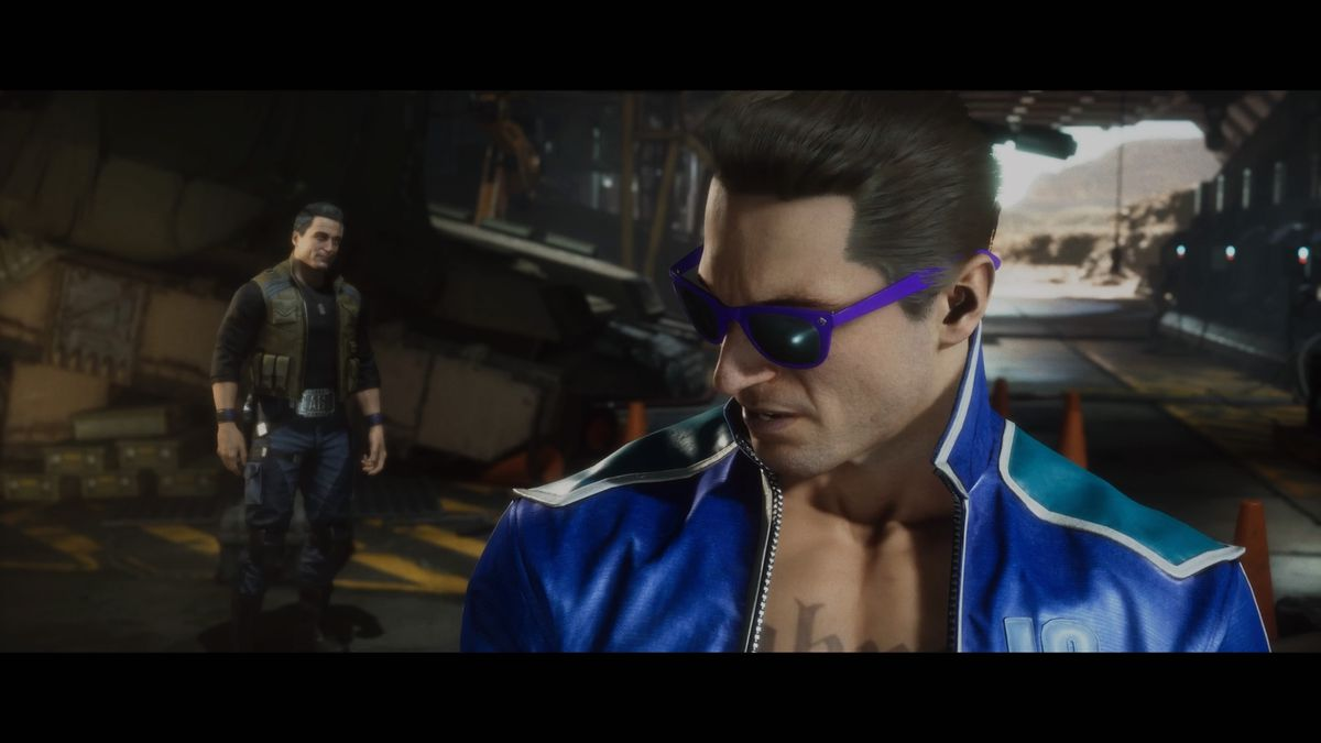 The former Johnny Cage sulks away from his current self in Mortal Kombat 11