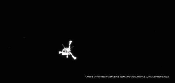 view of Philae in flight
