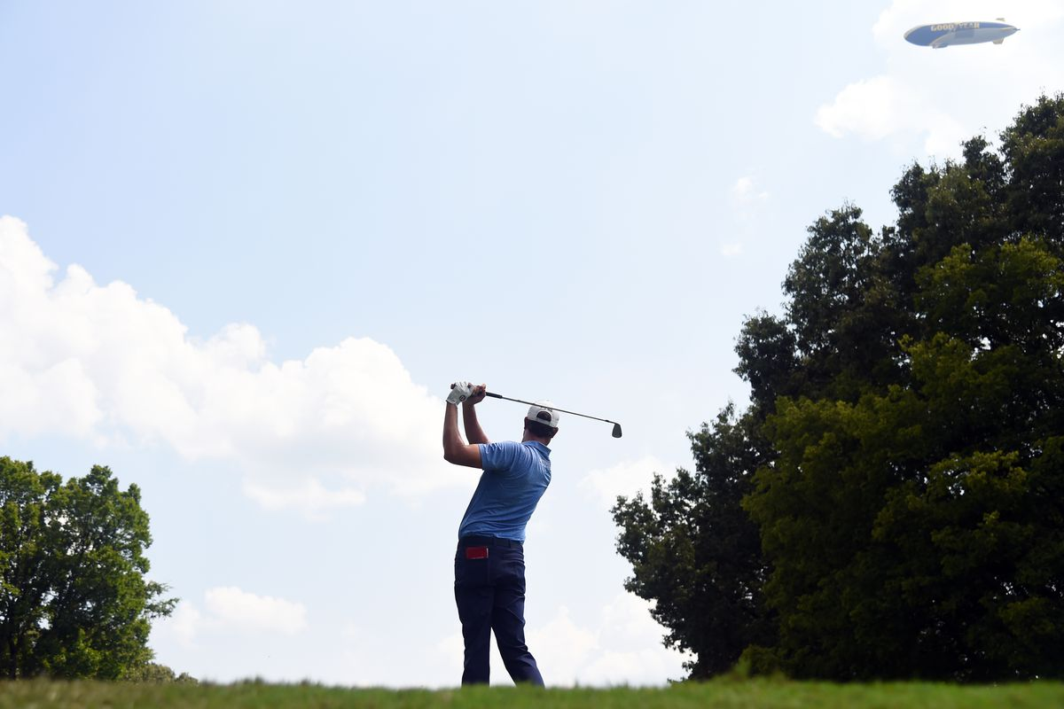 Harris English hits his tee shot on the eighth hole during the third round of the WGC FedEx St. Jude Invitational golf tournament at TPC Southwind.