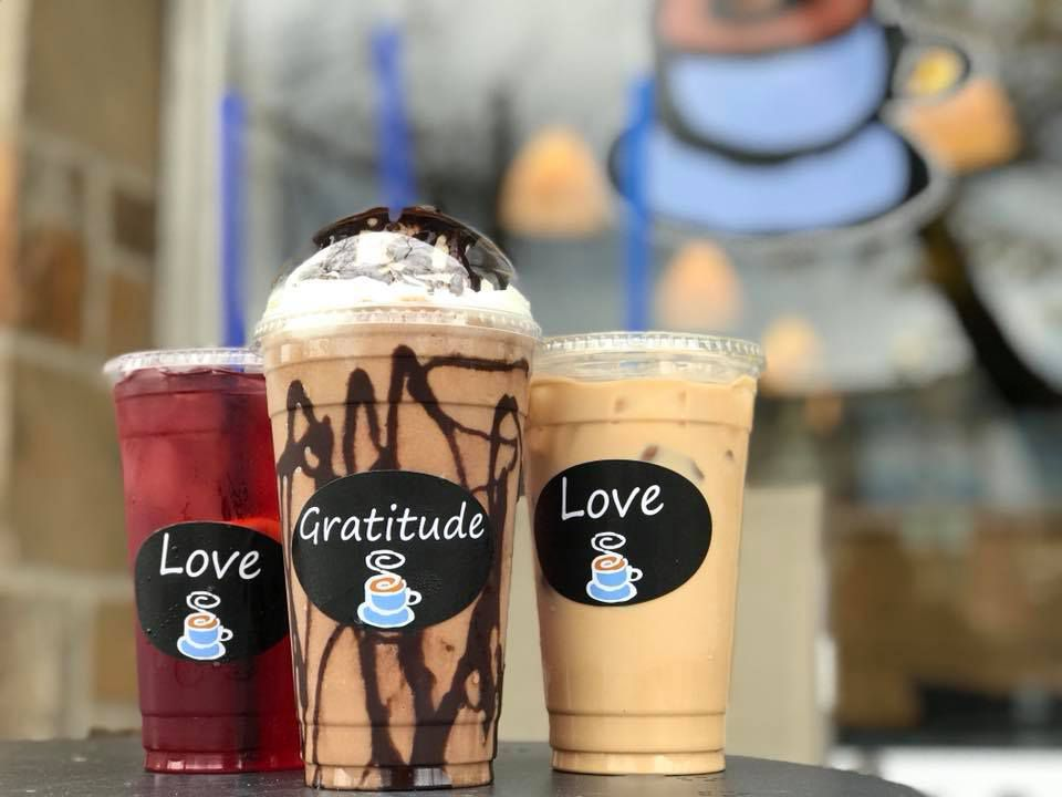 """Coffee Break Cafe's tart berry iced tea, frozen Reese's peanut butter cup """"craving,"""" and iced caramel latte"""