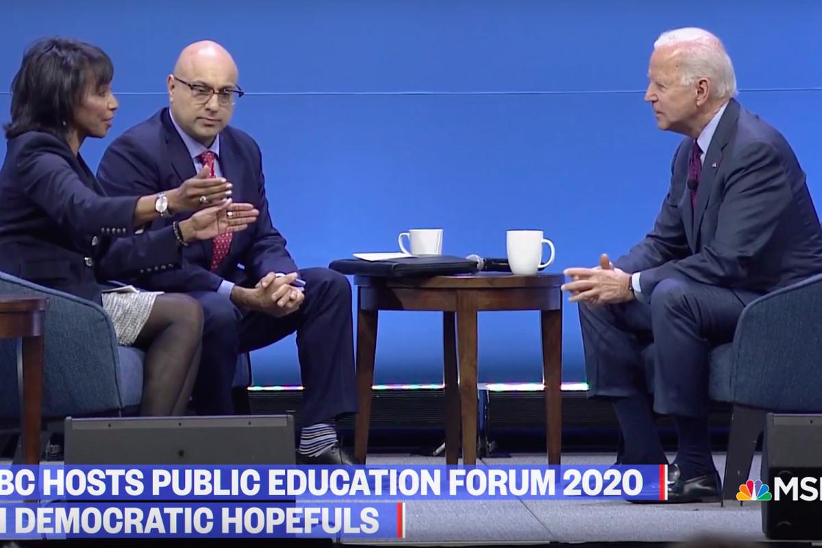 Former Vice President Joe Biden at the MSNBC-sponsored Public Education Forum in Pittsburgh.
