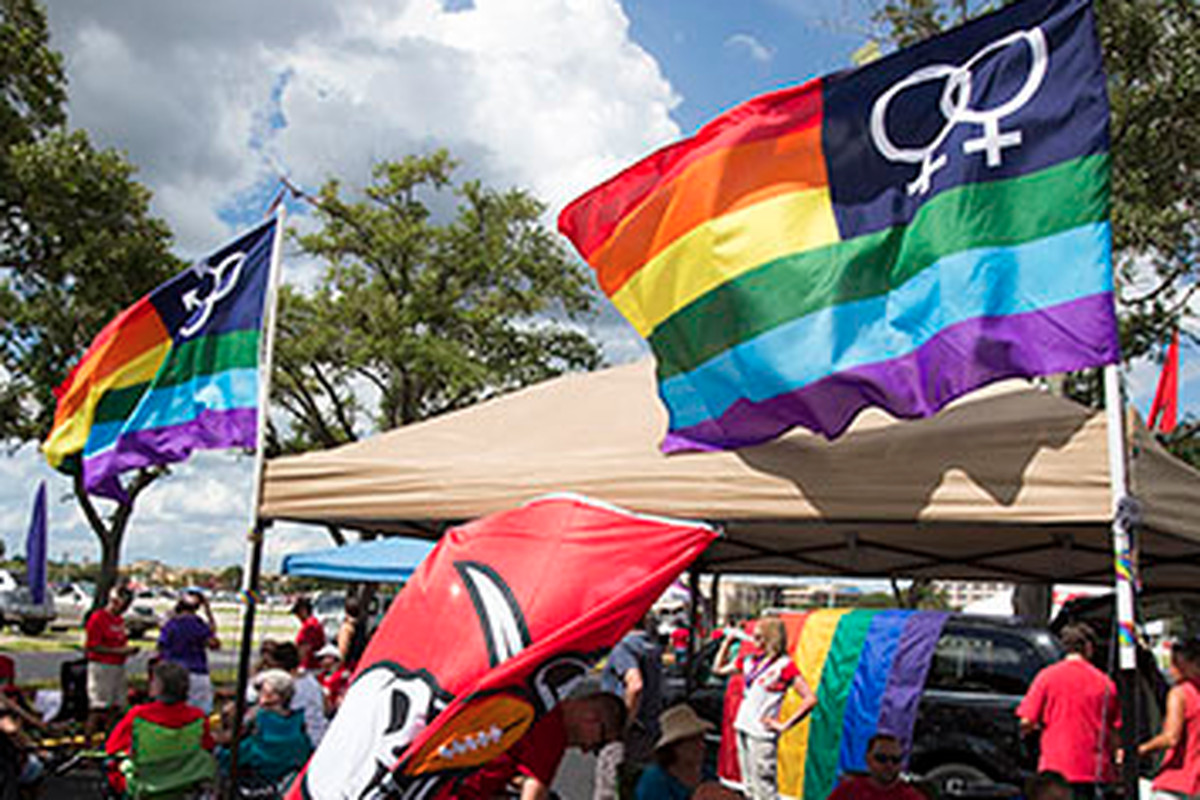 Bucs and rainbow flags flew at the Tampa Bay LGBT tailgate.