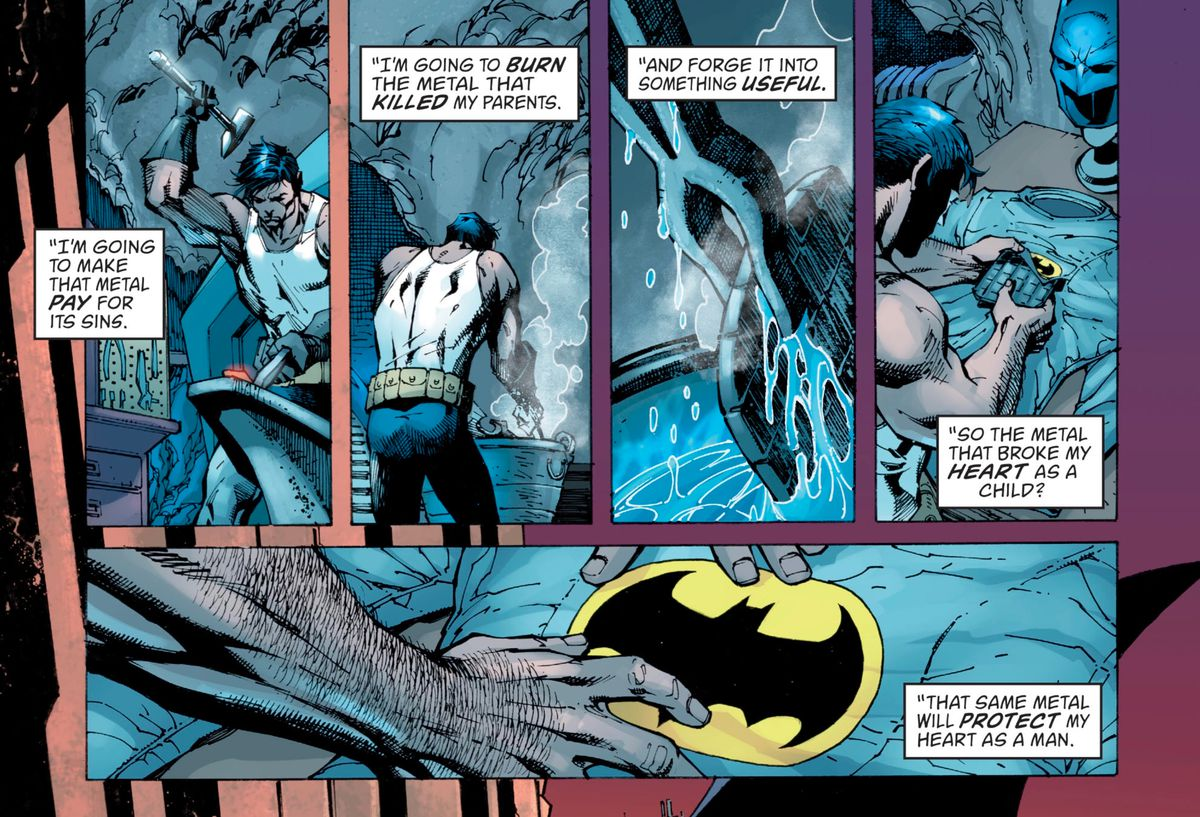 """I'm going to manufacture that steel pay for its sins,"" Bruce Wayne says in narration, as he hammers the gun broken-right down to crash his of us into a chestplate, ""so the steel the broke my heart as a younger person? That very same steel will offer protection to my heart as a man,"" in Detective Comics #1000, DC Comics (2018)."