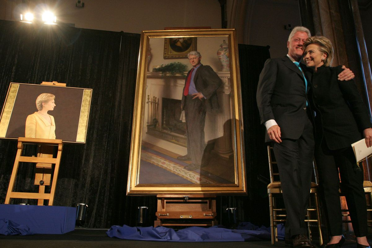 The Clintons attend the unveiling of their portraits, at the National Portrait Gallery in 2006.