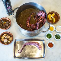 The ingredients (clockwise from top): Cooked octopus, lemon, lemon zest, sea salt, chives, oregano leaves, espelette peppers, octopus tentacle, fingerling potatoes, onion relish, and olive oil.