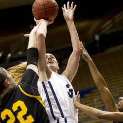 Kristen Riley goes for the shot in BYU's game against the San Francisco Dons, in the Marriott Center  February 16, 2012