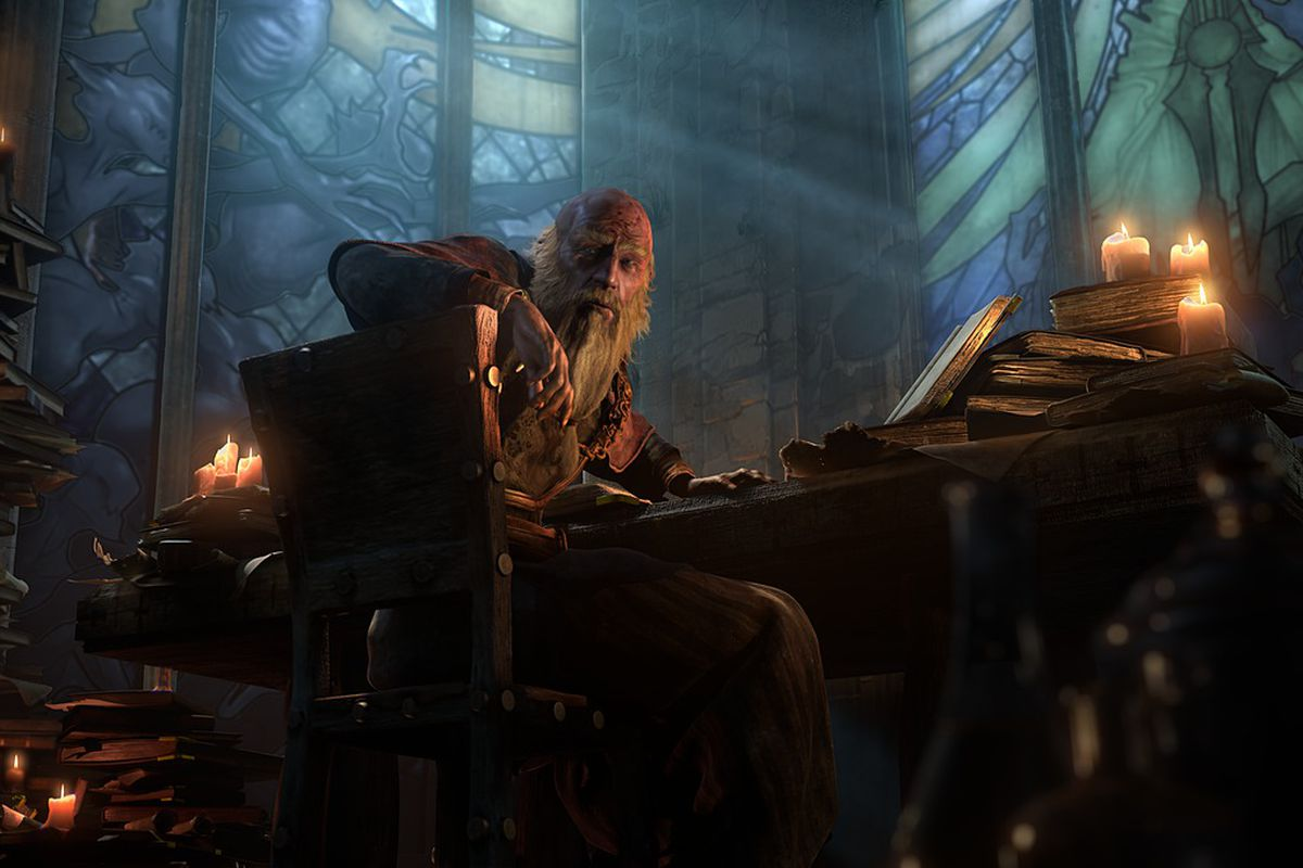 Deckard Cain turns away from his studies in a screenshot from Diablo 3.