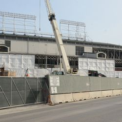1:09 p.m. The west side of the ballpark, along Clark Street -