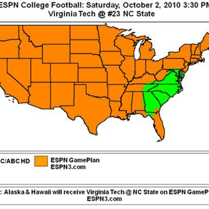 From Hd Sports Guide Comes The Coverage Map For Virginia Tech S Game