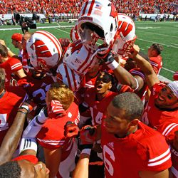 The Badgers celebrate after their 37-3 win.