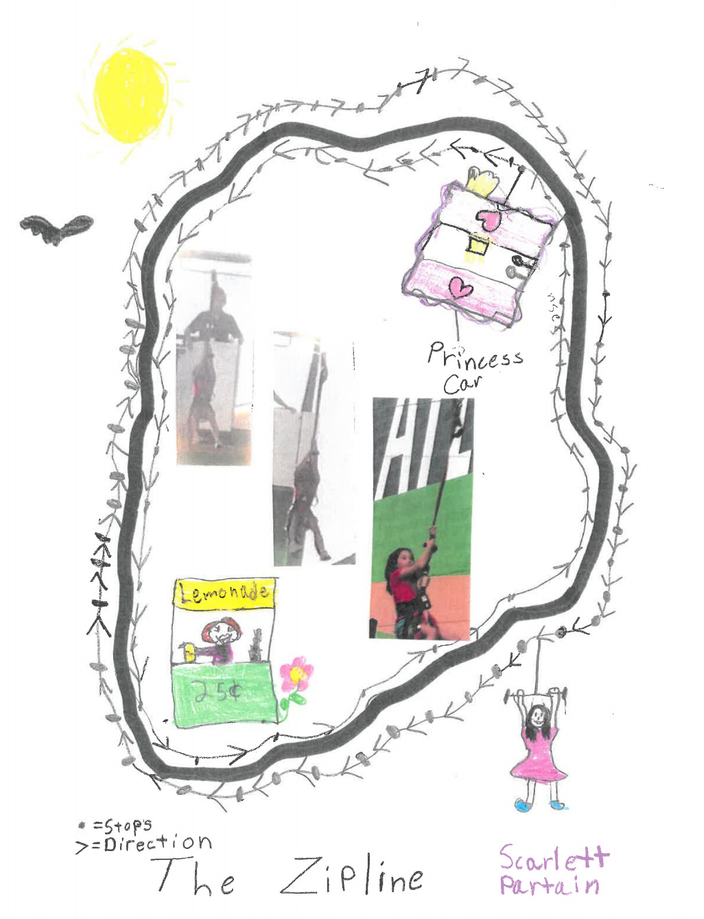 A child's drawing of a zipline system around the Perimeter.